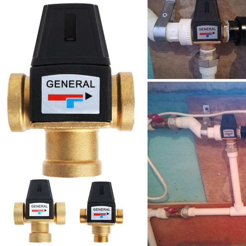 New 3 Way Brass DN20/DN25 Male Female Thread Water Thermostatic Mixing Valve 3/4 1