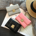 2016 New European America Style Minimalist Small Ladies Wallet Leather Wallet Car Suture Short Wallet Women Card Package Handbag