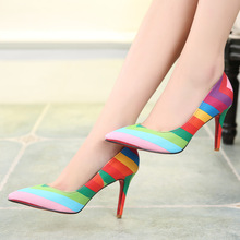 2016 Spring Summer Rainbow Style Sexy Pointed Toe Shallow Mouth font b Women b font Pumps