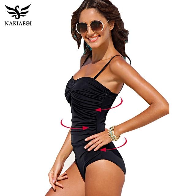 NAKIAEOI One Piece Swimsuit 2018 New Plus Size Swimwear Women Print Solid Swimwear Vintage Retro Bathing Suits Monokini Swimsuit