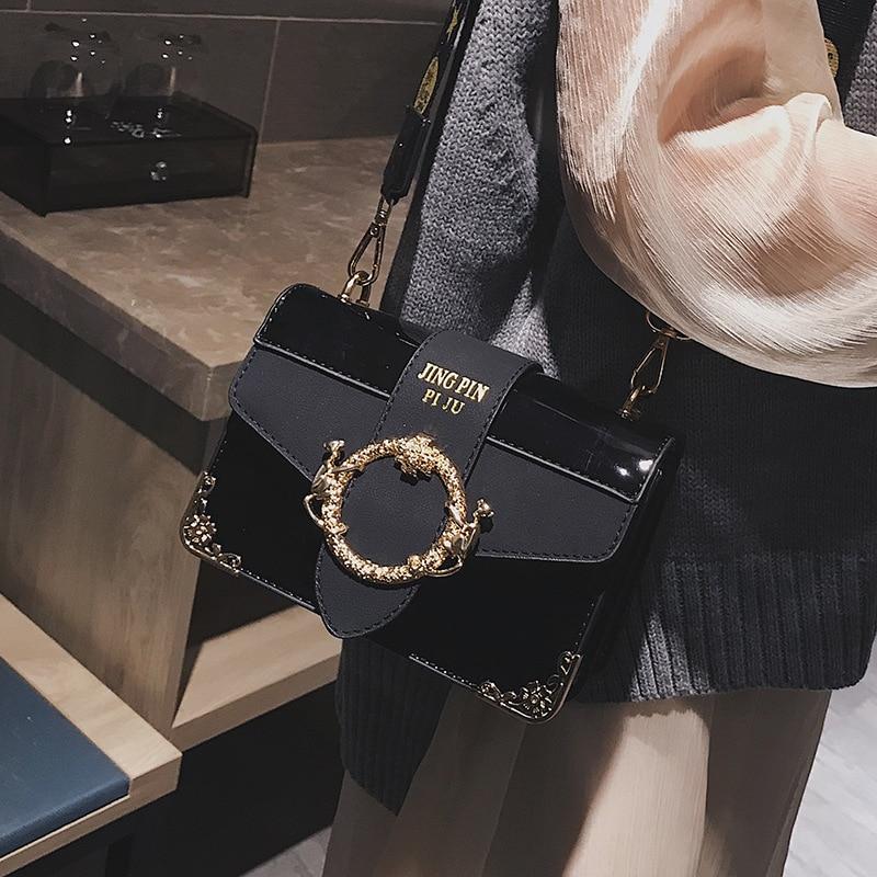 4ed9c5cbf19e5d New Retro Women's Small Square Bag 2018 New Exquisite Carved Crossbody Bag  High Quality Patent Leather