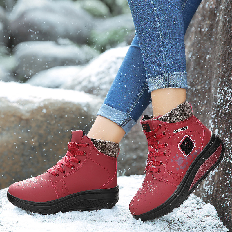 Basket Femme 2019 New Running Shoes Women Plus Size Sports Woman Sneakers Pu Short Plush Warm Lace Up Winter Shoes Woman