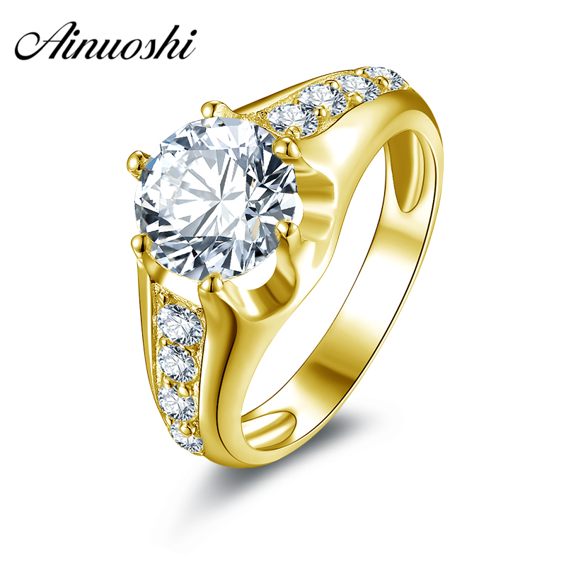AINUOSHI 10k Solid Yellow Gold Wedding Ring Top Quality