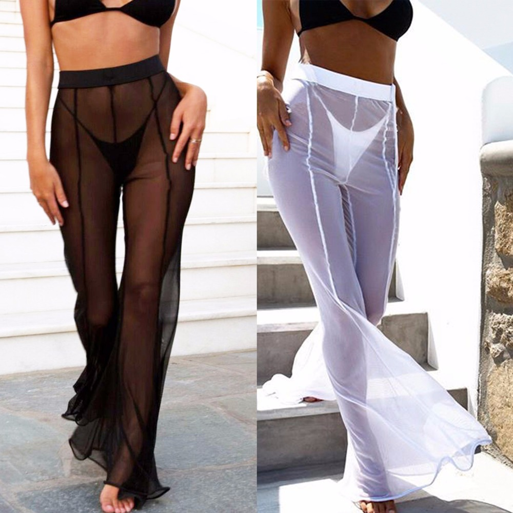 2018 New arrivals fashion sexy ladies black white hollow out   wide     leg     pants   women loose   pants   summer beach sweatpants