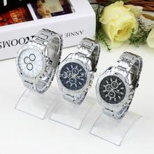 Famosa Marca de Reloj de Cuarzo de Acero Inoxidable Militar Crystal Analógica Casual Relojes Nueva Venta Caliente