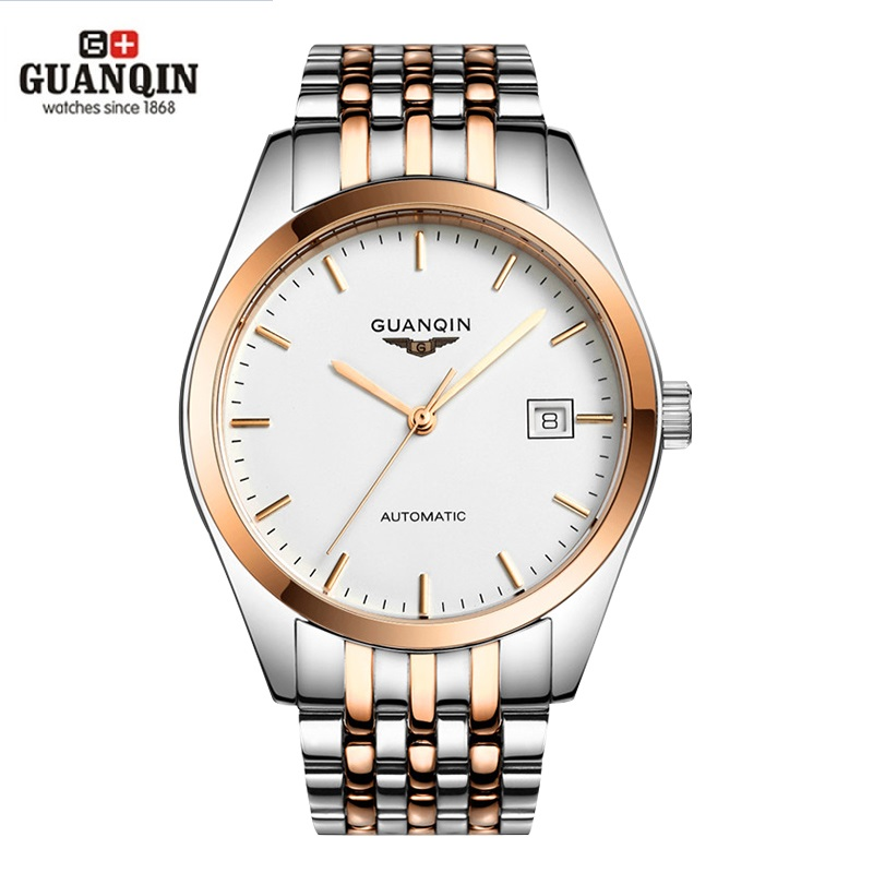 GUANQIN Luxury Mens Automatic Mechanical Watches Men Stainless Steel Wrist Watch Boy Business Waterproof Analog Wristwatches tevise men watch black stainless steel automatic mechanical men s watch luminous waterproof watch rotate dial mens wristwatches