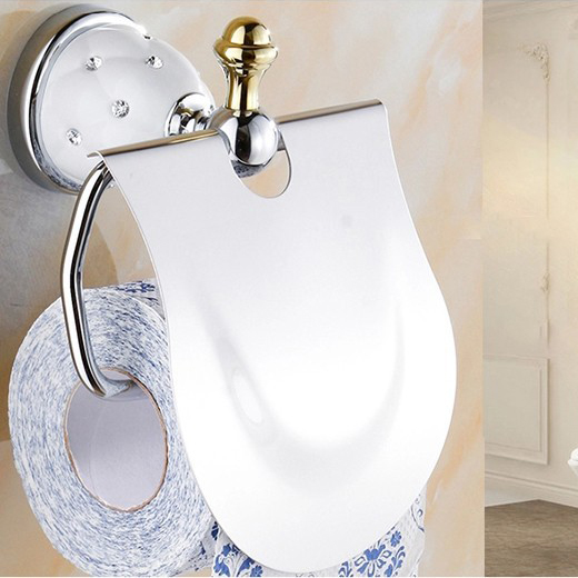 Free shipping european style solid brass diamond chrome plated toilet roll holder wc paper for Chrome plated brass bathroom accessories