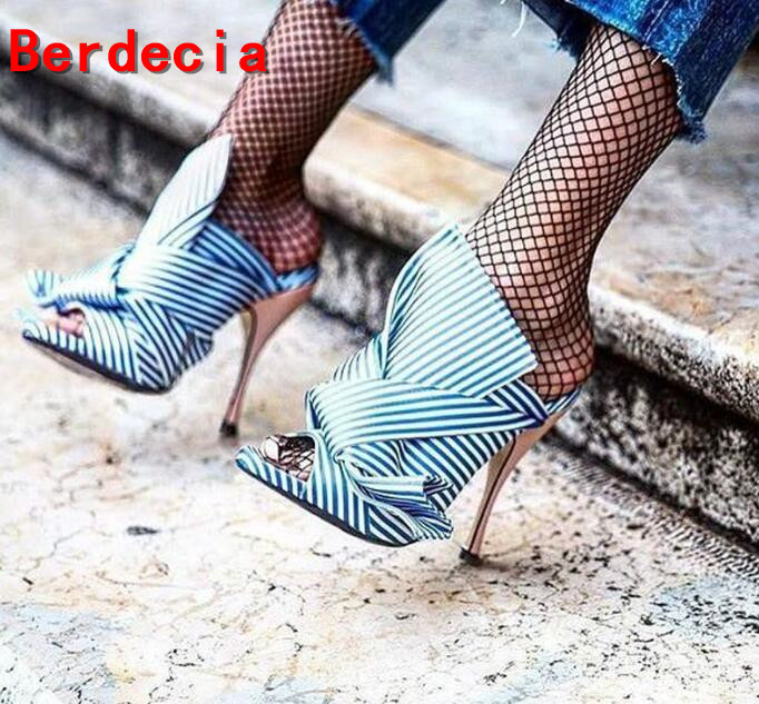 ФОТО Hot selling peep toe slippers for woman 2017 newest sky blue striped high heel sandal big butterfly-knot cutouts slipper