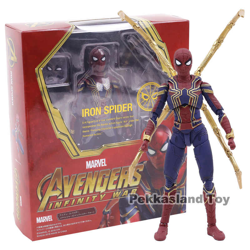 SHF Avengers Infinity Guerra Iron Spider Spiderman PVC Action Figure Da Collezione Model Toy