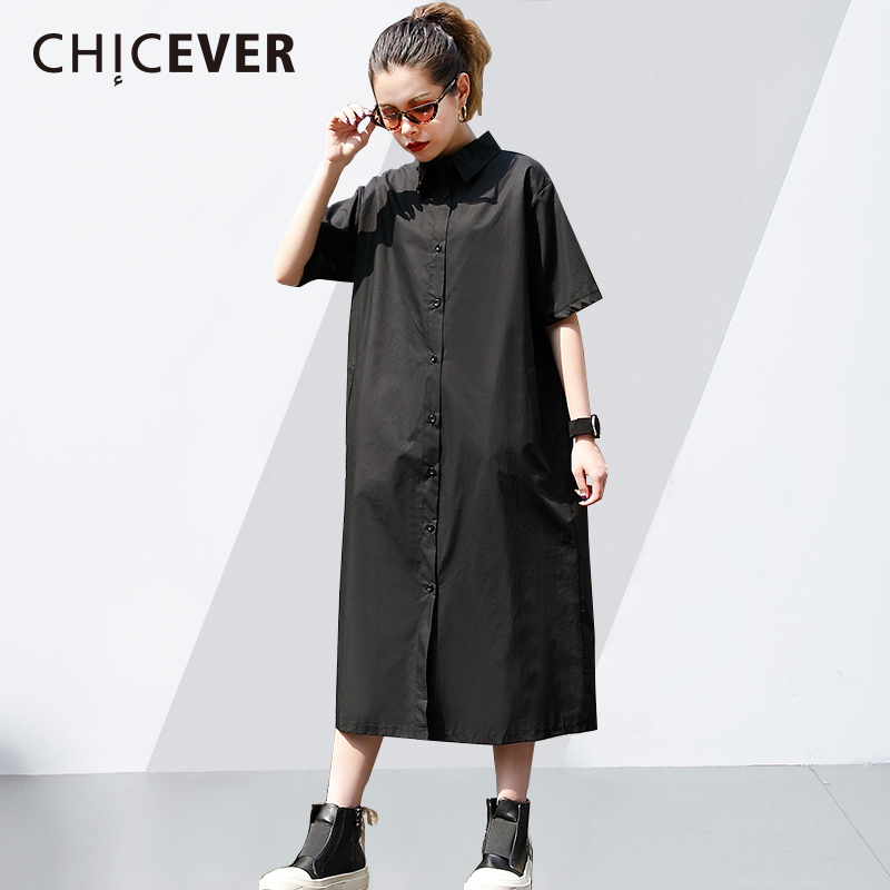 CHICEVER Back Character Print Dress Female Lapel Short Sleeve Single Breasted 2018 Summer Womens Dresses Loose Top Fashion New