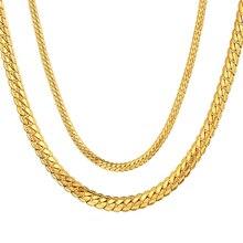 bfa65c3d54d8 Joyas Hiphop 4 MM 7 MM serpiente plana Cadena de acero inoxidable de Color  oro de oro Collar para las mujeres hombres joyería