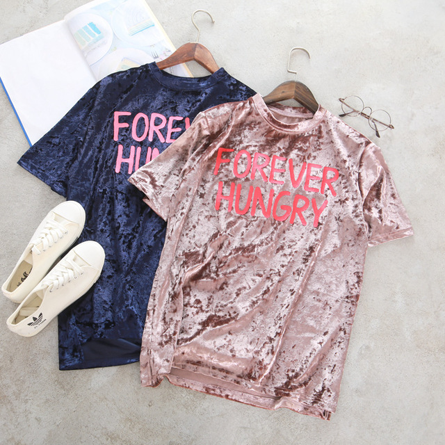 New Fashion Women Velvet Shirts Tops Short Sleeve Letter Print Vintage T Shirt O-Neck Summer Casual Ladies Blusas T-Shirt P35