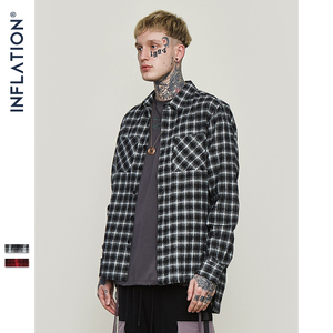Image 3 - INFLATION Oversized Check Long Sleeve Casual Shirt 2020 Autumn & Winter Fashion Hip Hop Men Plaid Flannel Check Shirt 8713W