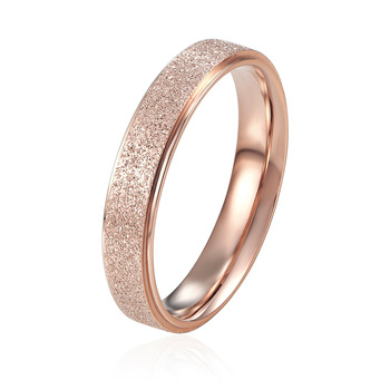 Top Quality 4mm And 6mm Wide Frosted Woman Ring Titanium Steel Rings Rose Gold Color Luxury Jewelry for Men and Women