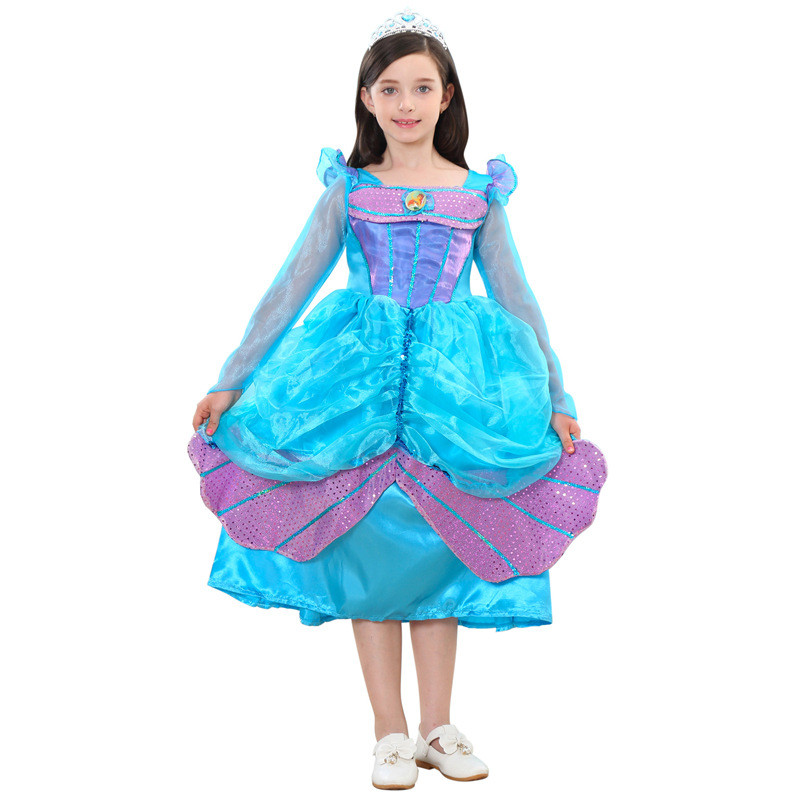Princess Beauty Girl Mermaid Dress Up Costumes Girls Costume Children Dance Party Christmas Kids Cosplay Dress