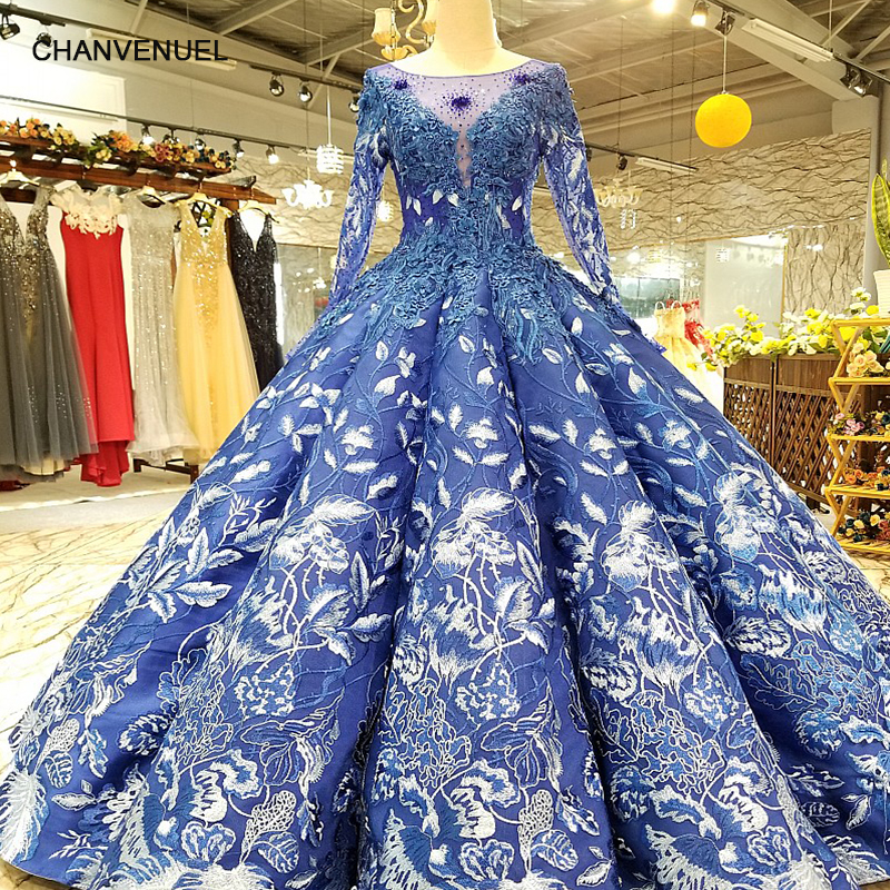 Long Evening Gowns For Wedding: LS24788 Royal Blue Floor Length Puffy Evening Dress O Neck
