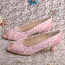 Wedopus MW493สีชมพูส้นต่ำรองเท้าเจ้าสาวแต่งงานเปิดนิ้วเท้าD Ropshipping