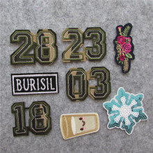 milk cup camouflaged number 23 embroidery of clothes iron on patch diy sewing decorate Sticker Children wome Badges Applique(China)