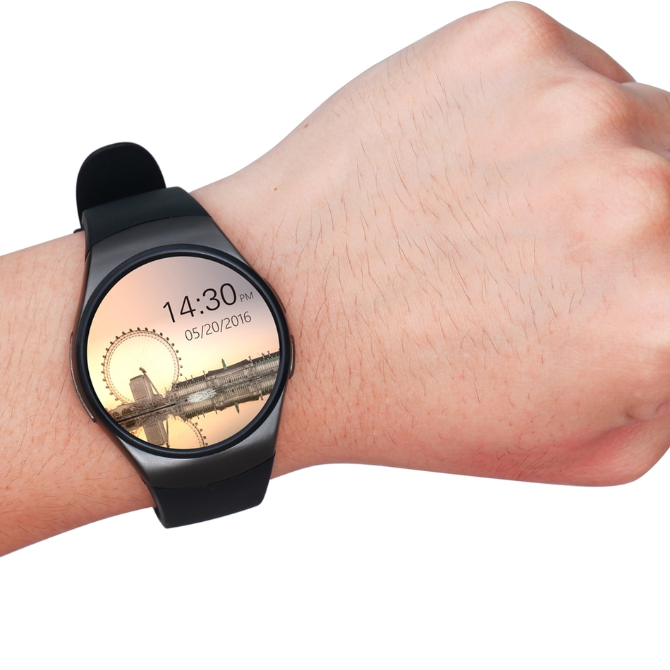 KW18 Smartwatch 1.3 pouces cadran rond téléphone podomètre rappel sédentaire BT4.0 moniteur de fréquence cardiaque montre intelligente - 6