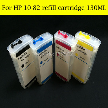 цена на 130ML Empty With ARC Chip Refill Ink Cartridge For HP 10 82 Cartridge C4844A C4911A For HP 500 800 500ps 111 Printer