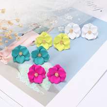 1Pair Korean Style Cute Flower Stud Earrings Floral Fashion Jewelry Sweet Wholesale Hot Sale Accessories Gifts for Women Girls