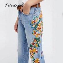 Новые Джинсовые Желтые цветы птица вышивка Тонкие джинсы женщина брюки 2017 летние джинсы женские брюки капри Женские джинсовые брюки карандаш