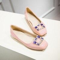 Elegant 2016 Women Pumps Patent Leather 1 5cm Square Heels Pumps Beige Pink Blue Purple Popular