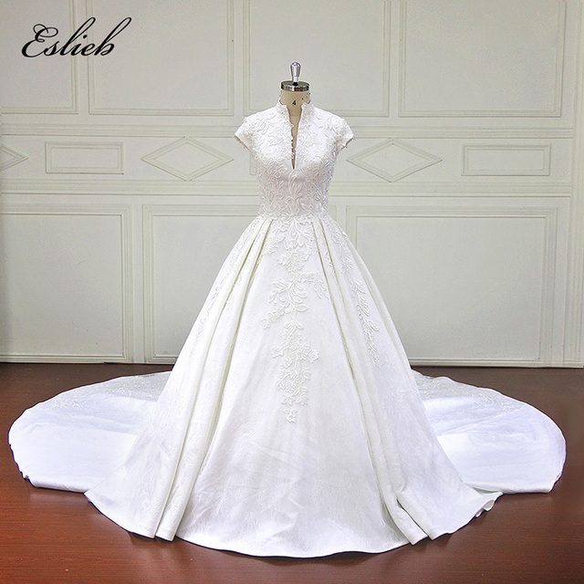 Eslieb Charming A Line Wedding Dresses Applique lace Zipper back ...