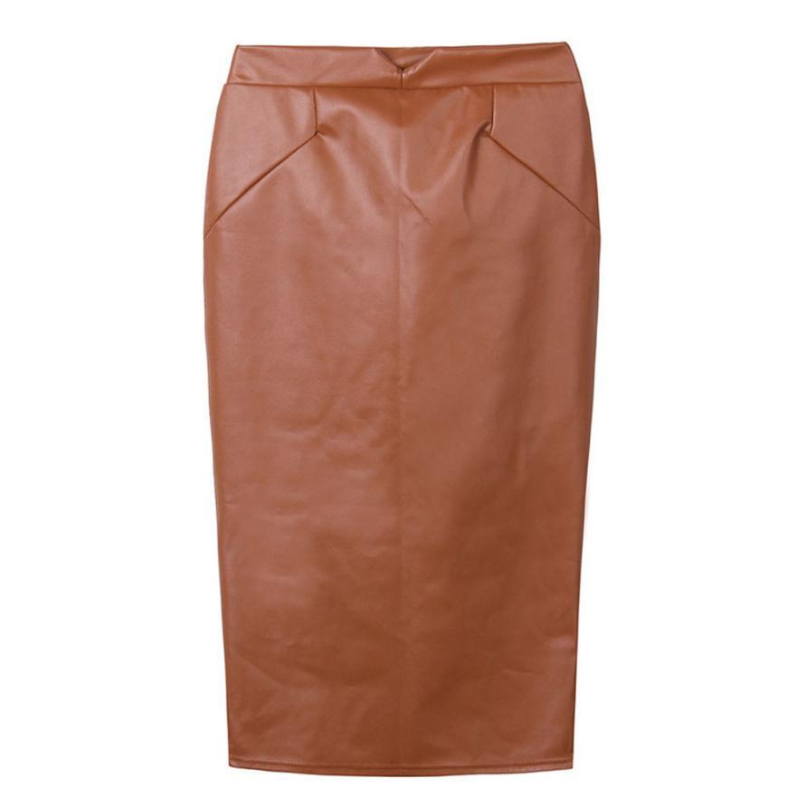 Женская мода 2016 твердый искусственная кожа badycon юбки дамы высокой талией юбка-карандаш черный цвет юбка-карандаш saias femininas