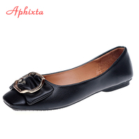 Aphixta Causal Loafers Shoes Women Flats Metal Dec Shallow Female Causal Shoes Slip On Soft Comfortable