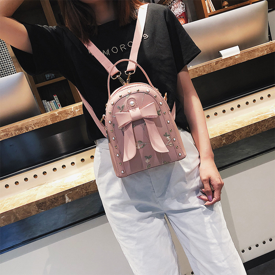 Cute Bow Women Backpack Rivet Pearl Women CPhildren Schoolbag Lady Floral Fashion Book Bag Females Pink Travel Backpack 2018 New vans wm realm backpack pink lady ph