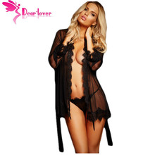 Dear Lover New 3PCS Chemise Sleepwear Sexy Pajamas Underwear Womens Kimono Nightie Adult Black Lace Trim Robe with Thong LC22530