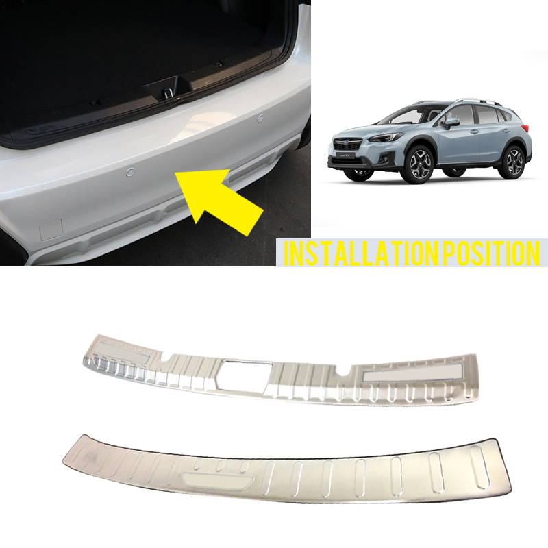 Accessories Exterior Inner & Outer Rear Bumper Plate Cover Trim 2pcs Fit  For  Subaru Impreza XV 5-door Hatchback 2017 2018