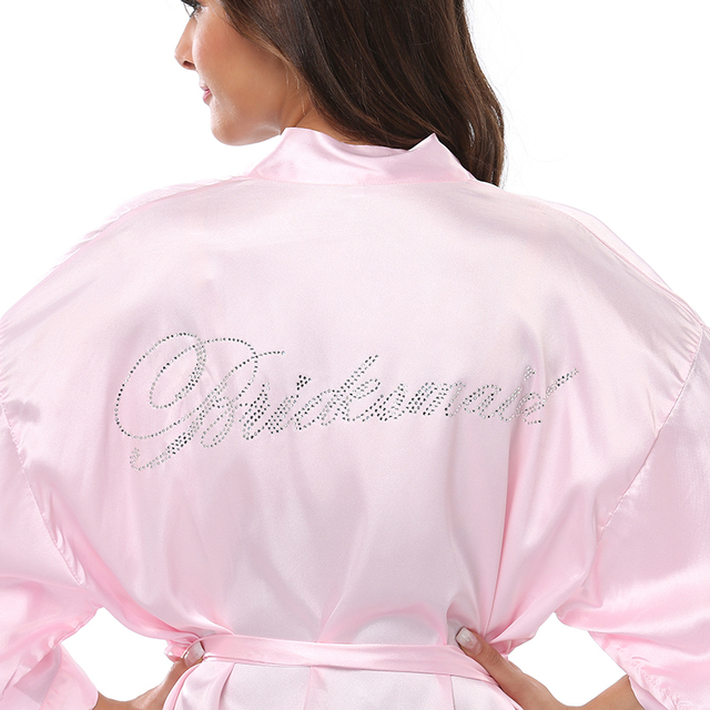9fea5ffeab Rhinestone Letter Bride Robes Bridesmaids and Maid Of Honor Robes Sleepwear  Nightwear Wedding Bathrobe Night dress Gown