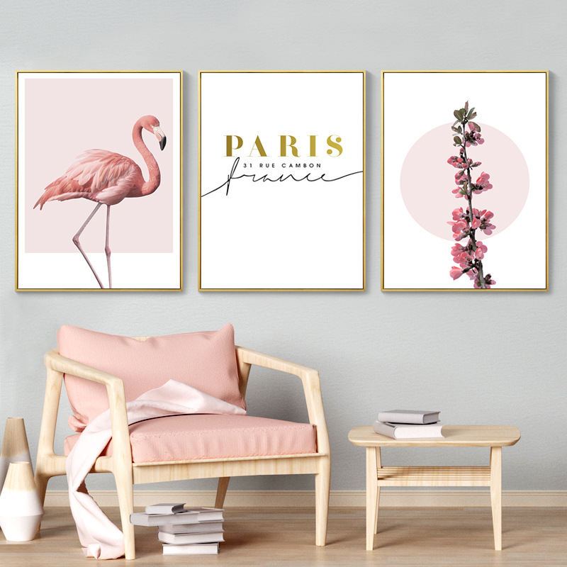 Nordic Modern Abstract Gold Text Paris Canvas Painting Romantic Blooms Pink Flamingo Nursery Kid Bedroom Wall Poster Home Decor