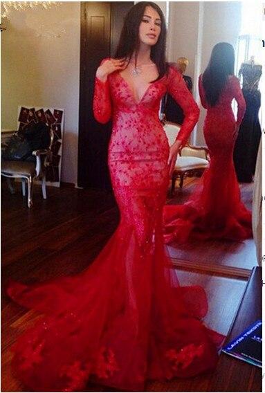 06d57eae94 Glamorous V - neck manga comprida da sereia vestido de noite vermelha 2016  apliques com renda