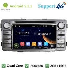 Quad Core 5.1.1 1Din Android Reproductor de DVD Del Coche de Radio Estéreo USB DAB + FM BT 3G/4G WIFI Mapa GPS Para TOYOTA Hilux 2012 2013 2014
