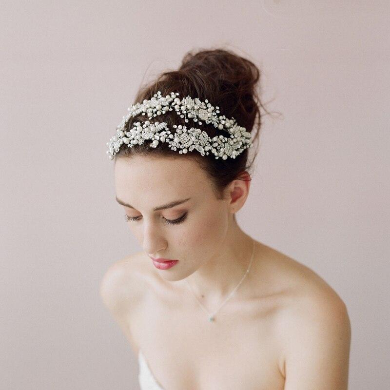 Jonnafe White Beads Elegant Bridal Tiara Handmade Headpiece Crystal Pearl Wedding Prom Headband Hair Jewerly