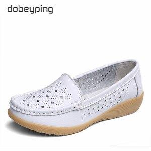 Image 5 - Туфли dobeyping женские летние из натуральной кожи, Мокасины, перфорированная подошва, лоферы, обувь на плоском ходу, Размеры 35 41