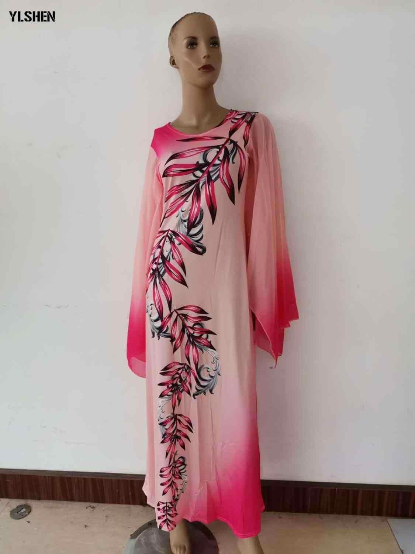 Новые африканские платья для женщин с принтом Дашики африканская одежда Базен Riche сексуальное тонкое платье с рюшами на рукавах длинное Африканское платье макси для женщин
