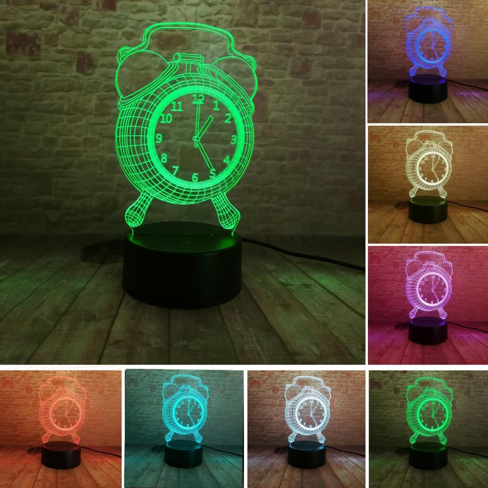 Nowe mody 3D budzik Lampka nocna 7 Zmiana koloru 3D lampka nocna - Lampki nocne