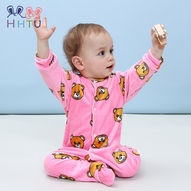 HHTU New 2017 Autumn Winter Baby Rompers Clothes Long Sleeved Coveralls for Newborns Boy Girl Polar Fleece Baby Clothing Soft new 2017 autumn winter baby rompers clothes long sleeved coveralls for newborns boy girl polar fleece baby clothing 3 12m 004