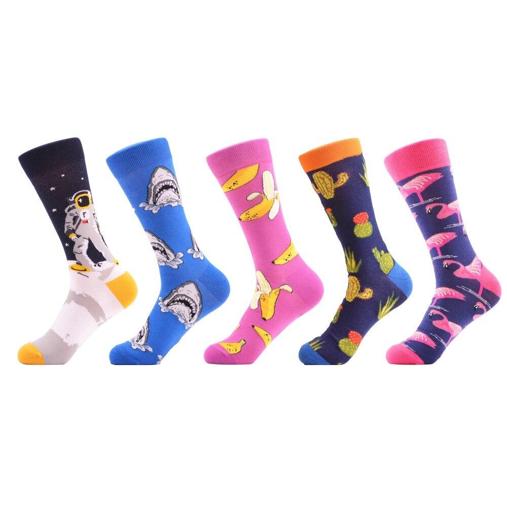 SANZETTI 5 par/lote colorida divertida de algodón peinado calcetines ...