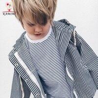 KAMIMI Boys Stripe Jacket With Hooded Kids Coat Outerwear Boys Windbreaker Baby Jackets Children Fashion Clothing