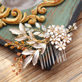 New Vintage Handmade Crystal Bridal Headpiece Flower Leaf Wedding Hair Comb Accessories