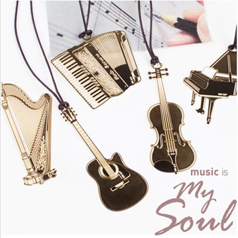 1pc/Set, Beautiful Instrument With Lanyard Notebook Metal Bookmark Creative Fixed Piano Guitar Organ Harp Violin Trumpet