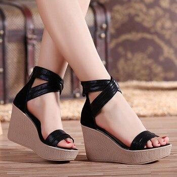 9c6e7501 Sandalias de Mujer Sandalias de tacón de cuña sandalias de plataforma  zapatos de verano 2019 tacones altos sandalias de gladiador de cuero  genuino para ...