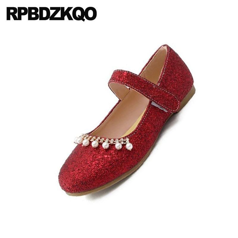Jane Printemps Appartements Rouge Perle Glitter Automne Femmes Mary Taille Chaussures 11 Paillettes 12 Or Vin vin Or Simples 44 Grande argent Diamant Sequin Bling TqRXvw