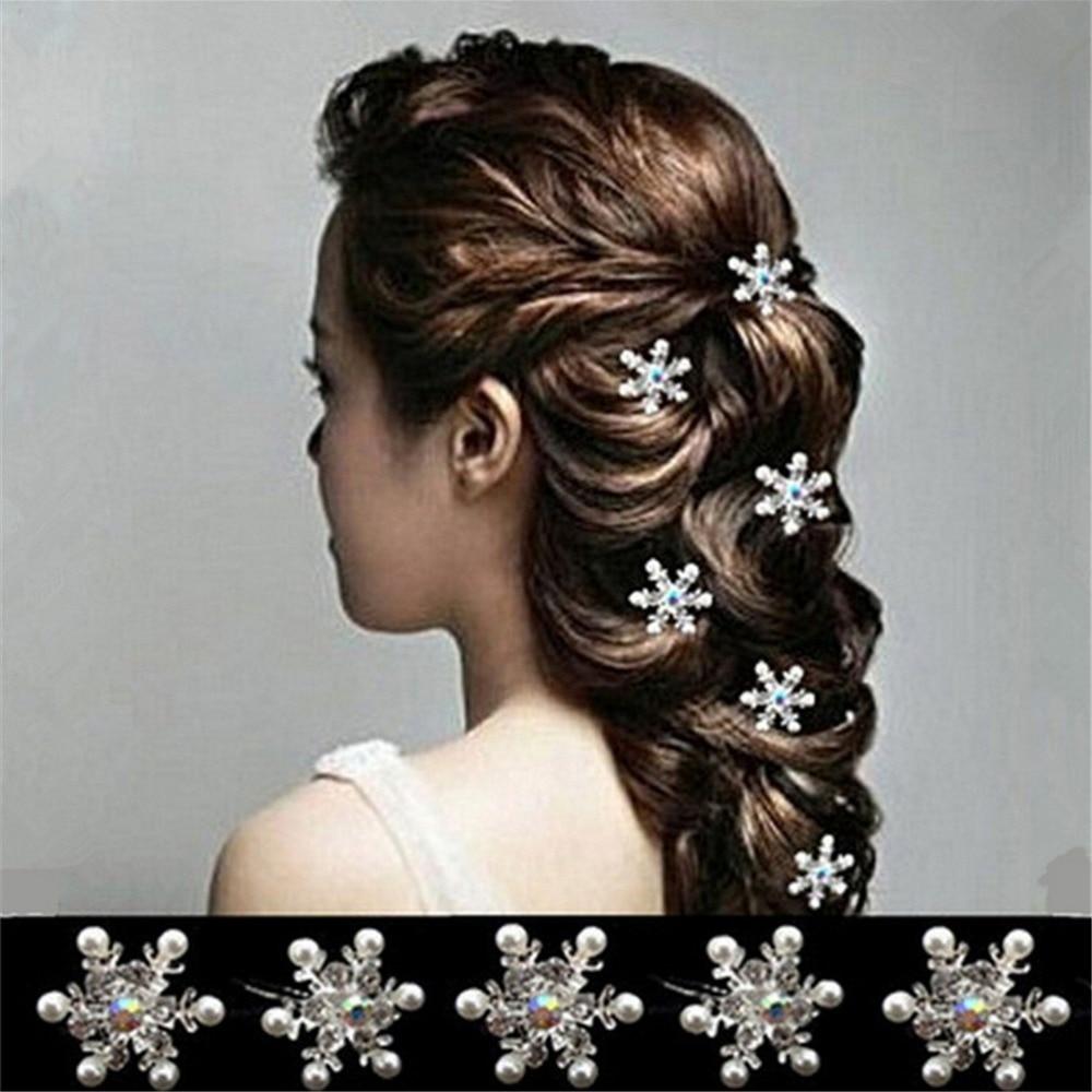 Crystal Rhinestone Headwear Faux Pearl Flower Hair Pin Clips Bride Wedding Bridal Hairwear 5Pcs