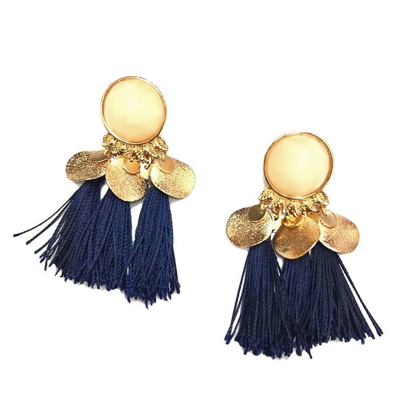 Flola 4 Colors Gold Fringe Earrings Bohemian Long Tel Color 2017 Famous Brand Jewelry Penntes Flecos Ersk41 In Drop From